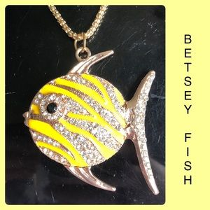 Yellow Rhinestone Tropical Fish Sweater Necklace